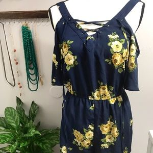 E&M Blue Floral Shoulder-less Romper